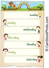 vecka, affisch, lycklig, dagar, barn