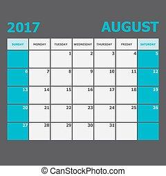 vecka, augusti, startar, söndag, 2017, kalender