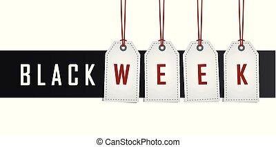 vecka, befordran, etikett, svart, hängande