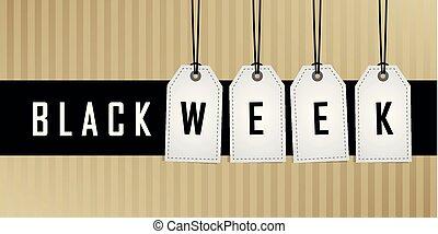 vecka, befordran, hängande, svart, etikett