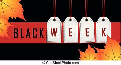 vecka, befordran, röd lämnar, svart, höst, hängande, etikett, bakgrund