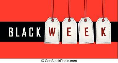 vecka, befordran, röda svarta, hängande, etikett, bakgrund