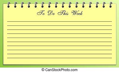 vecka, detta, bagage, lista, gula gröna