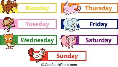 vecka, djuren, dagar, undertecknar