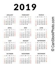 vecka, enkel, startar, 2019, sunday., kalender, mall