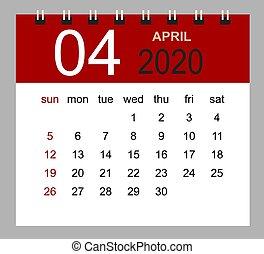 vecka, enkel, startar, april, sunday., skrivbord kalender, 2020.