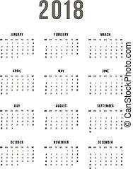 vecka, enkel, startar, bakgrund., vektor, 2018, mall, kalender, vit, sunday.