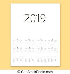 vecka, enkel, startar, bakgrund., vektor, 2019, sunday., mall, kalender, vit