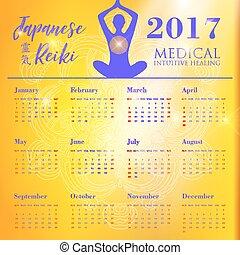 vecka, enkel, startar, gul, bakgrund., vektor, sunday., mall, 2017on, kalender