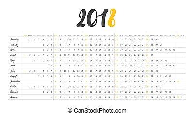 vecka, enkel, startar, söndag, 2018., kalender