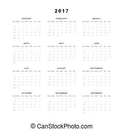vecka, enkel, startar, style., söndag, år, 2017, kalender