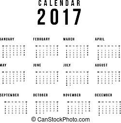 vecka, enkel, startar, vit, bakgrund., vektor, sunday., mall, 2017, kalender