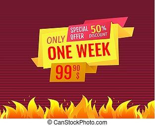 vecka, erbjudande, pris, försäljning, en, bara, etikett, final, speciell