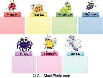 vecka, färgrik, dagar, pampen, mall, baner