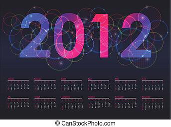 vecka, färgrik, startar, söndag, 2012, kalender
