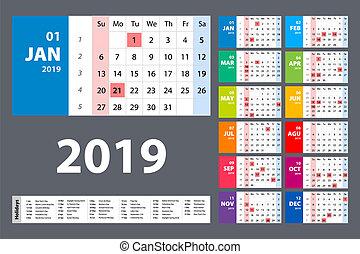 vecka, färgrik, startar, set., vektor, sunday., kalender, 2019.