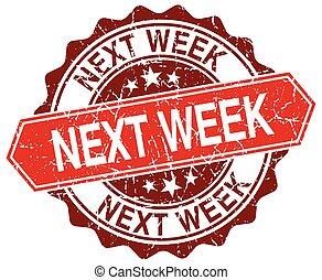 vecka, grunge, stämpel, nästa, vit, runda, röd