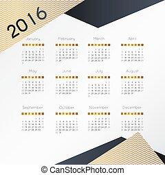 vecka, illustration., enkel, startar, nymodig, vektor, sunday., 2016., kalender