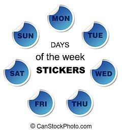 vecka, klistermärken, dagar