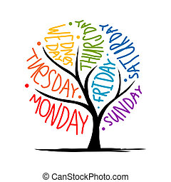 vecka, konst, 7petal, träd, dagar, design