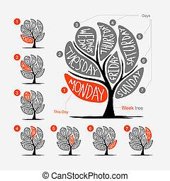 vecka, konst, kronblad, träd, dagar, design, 7