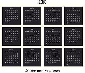 vecka, lägenhet, enkel, startar, illustration, calendar., vektor, 2018, år, sunday.