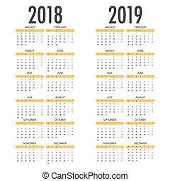 vecka, måndag, startar, år, 2018, engelsk, 2019, kalender