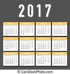 vecka, måndag, startar, vit, bakgrund., 2017, kalender