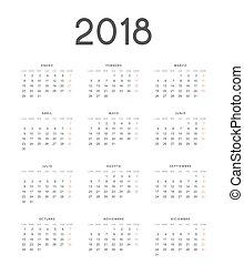 vecka, mall, måndag, enkel, startar, nymodig, tryckning, 2018, spanish., kalender
