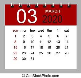 vecka, mars, enkel, startar, sunday., skrivbord kalender, 2020.
