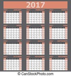 vecka, (orange, startar, tone), söndag, kalender, 2017