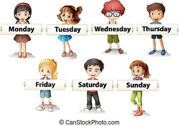 vecka, ordstäv, lurar, dagar, holdingen, kort