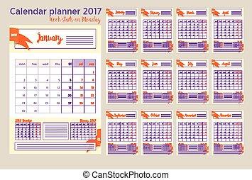 vecka, planläggare, måndag, startar, 2017, kalender