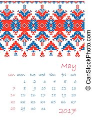 vecka, planläggare, startar, prydnad, söndag, etnisk, 2017, kalender, korsstygn