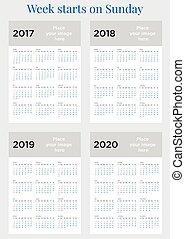 vecka, planläggare, startar, söndag, 2017, kalender