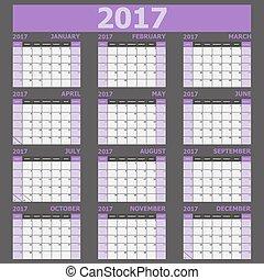 vecka, (purple, startar, tone), söndag, kalender, 2017