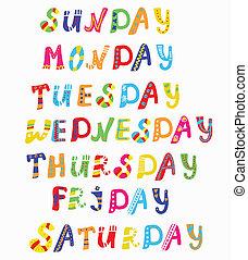 vecka, rolig, baner, sätta, dagar