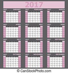 vecka, rosa, startar, tone), söndag, (light, kalender, 2017