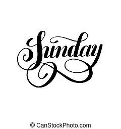 vecka, söndag, svarting bläck, kalligrafi, dag, handskrivet