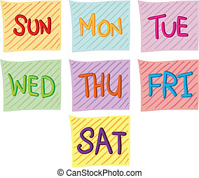 vecka, sju, dagar