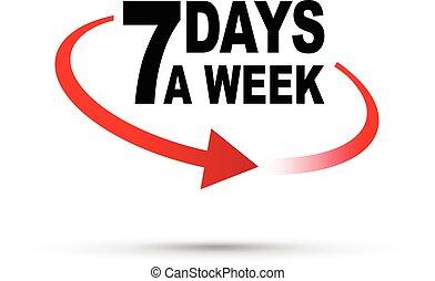 vecka, sju, dagar, omkring, klocka
