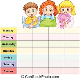 vecka, sju, lurar, dagar, bord, pyjamas