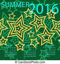 vecka, sommar, startar, vektor, sunday., 2016., kalender