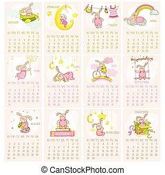 vecka, startar, -, baby, söndag, vektor, 2015, kalender, kanin