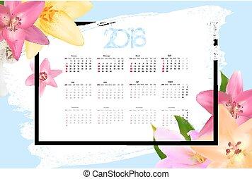 vecka, startar, illustration, vektor, sunday., 2018., kalender