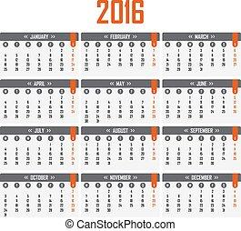 vecka, startar, kalender, 2016., måndag
