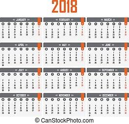vecka, startar, kalender, 2018., måndag