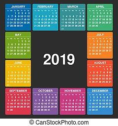 vecka, startar, kalender, 2019., sunday.