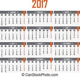 vecka, startar, kalender, måndag, 2017.
