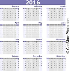 vecka, startar, söndag, 2016, kalender